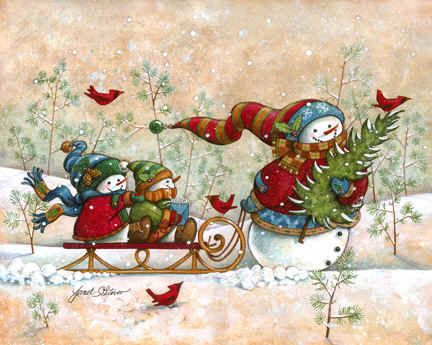 """Holiday Visit"" by Janet Stever, artist and illustrator, from the Snow Family Series."