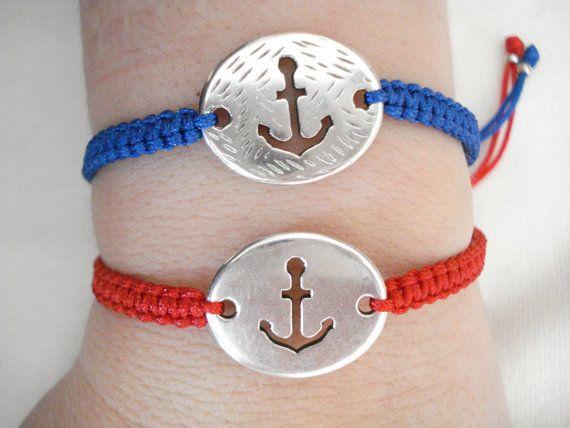 Silver anchor bracelet Matching couple bracelets by Poppyg on Etsy