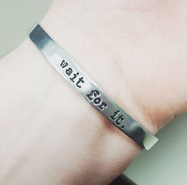 """Wait For It Cuff Bracelet Aaron Burr Inspired By Hamilton Broadway fandom jewelry  A handmade silver cuff bracelet, hand stamped with the quote, """"wait for it"""". Aaron Burr might not be so bad after all."""