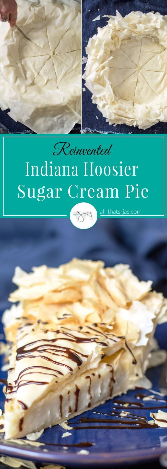 This eggless sugar cream pie has a rich custard filling, mild flavor, and it can be enjoyed warm or cold. It's reinvented by using ruffled fillo pastry as a crust which gives a perfect crunch. It is a State of Indiana national pie, aka Hoosier pie. This pie is also popular in Bosnia under the name of Krempita.