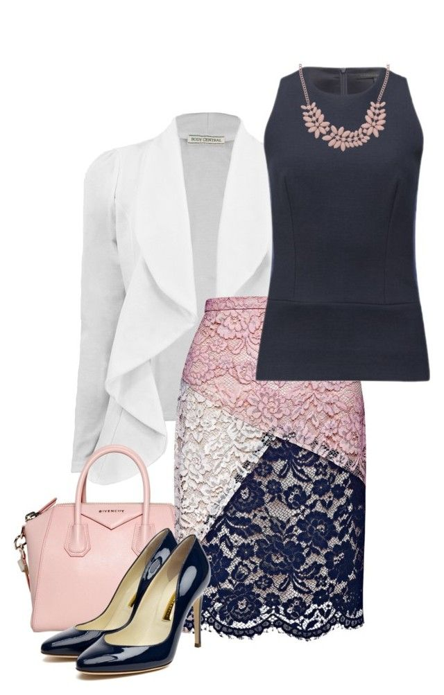 Pink, White, and Navy by greygold on Polyvore featuring Victoria Beckham, Candela, Rupert Sanderson, Givenchy and Topshop