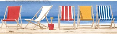 Nautical Beach Chairs Border