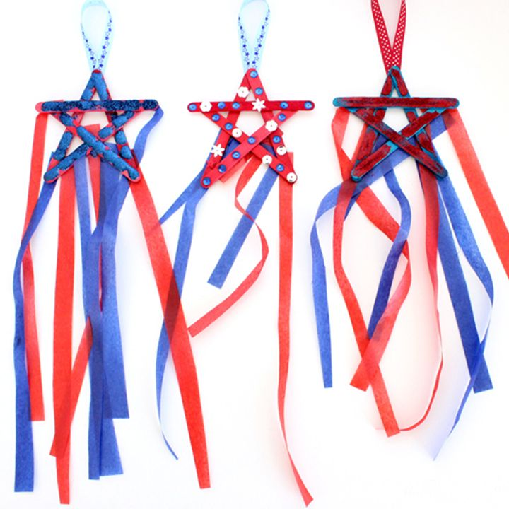 This cute patriotic star kids craft is a perfect activity for 4th of July! Quick and easy -- can be used as a decoration or add a stick to make it a wand!