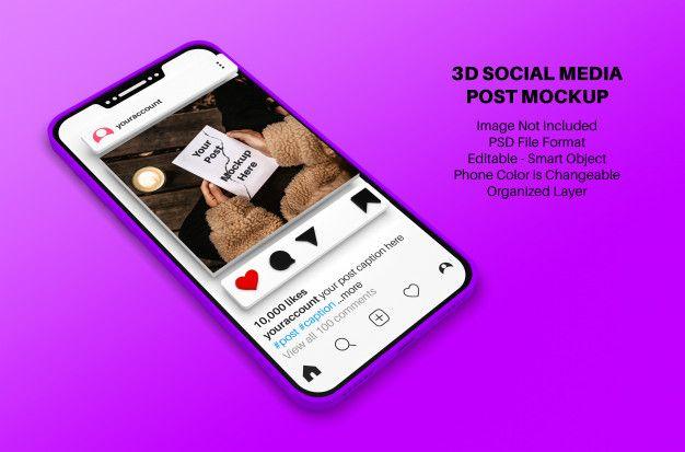 Instagram Social Media Post Mockup With Smartphone In 3d Style Social Media Post Instagram Mockup Social Media Mockup