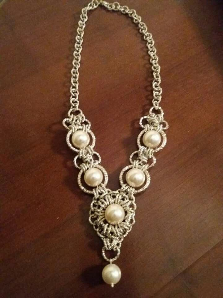 collana chainmaille con perle
