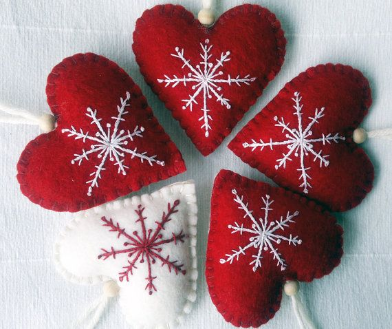 Set of Five Red and White Christmas Heart Felt Ornament /Hanging Decoration