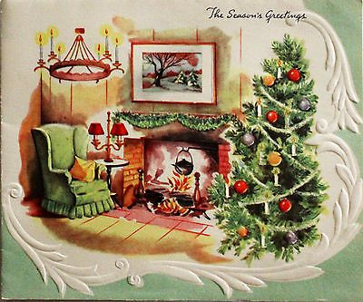 1950 S Living Room Scene Fireplace Chandelier Xmas Tree