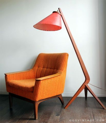 1960's MID CENTURY DANISH MODERN TEAK LOUNGE CHAIR ORANGE YELLOW | chairs, recliners | City of Toronto | Kijiji #modernfurnitureinspiration