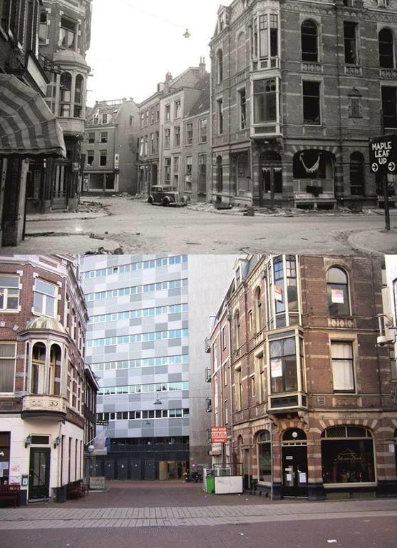 Arnhem De Oeverstraat in 1945, en in 2014