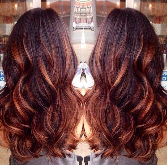 25 best hairstyle ideas for brown hair with highlights dark red dark brown hair with caramel highlights and red lowlights by suzette pmusecretfo Choice Image