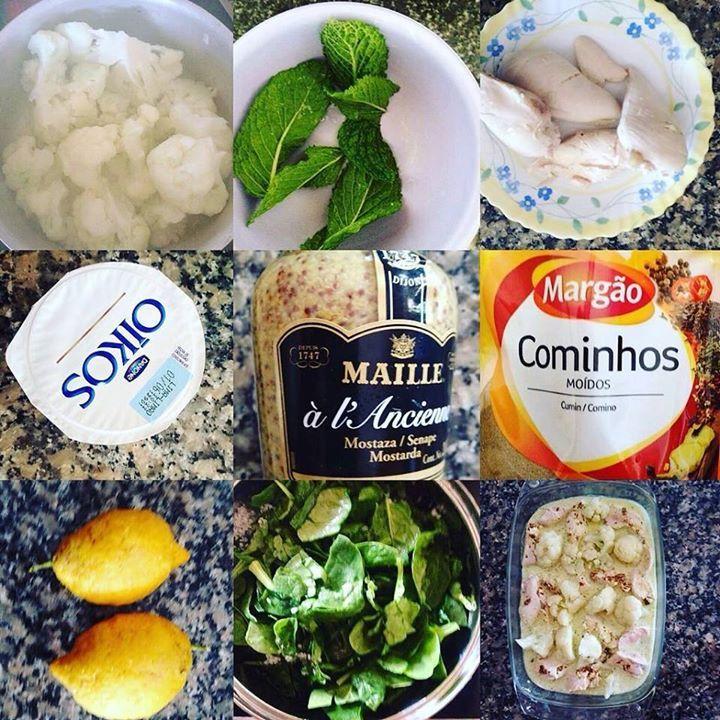 Frango com Iogurte limão e açafrão 1-Cozer o frango com água e sal 2-Cozer a couve flor em pedaços com sal q.b deixar que fique dura 3-Numa liquidificadora misturar 3 colheres de iogurte natural hortelã qb sumo de 1 limão e 1 colher de chá de mostarda (dijon). Reservar 4-Misturar cominho qb.  açafrão e sumo de limão. 5-Juntar ambas as misturas 6-Cozinhar os espinafres 7-Colocar num tabuleiro o frango cortado em pedaços pequenos a couve-flor o espinafre e colocar a mistura por cima. 8-Levar…