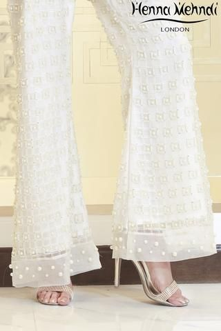White Embroidered & Embellished Trousers