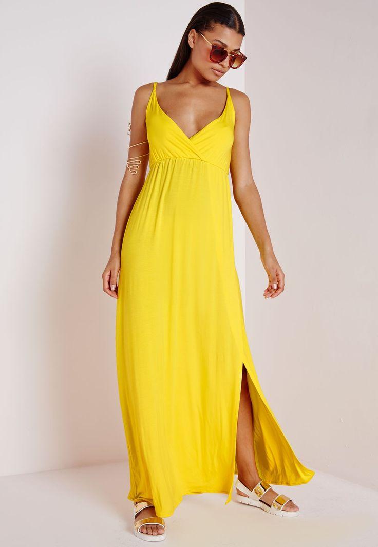 Robe longue cache-cœur en jersey jaune - Robes - Robes longues - Missguided