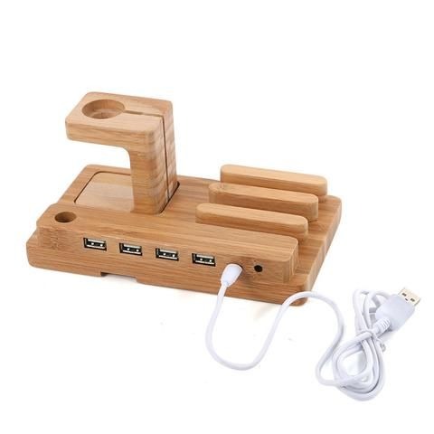 Multi-function 4 USB Port Charging Dock Bamboo Desk Stand Holder for Apple iPhone iPad Mini with Charging Cable