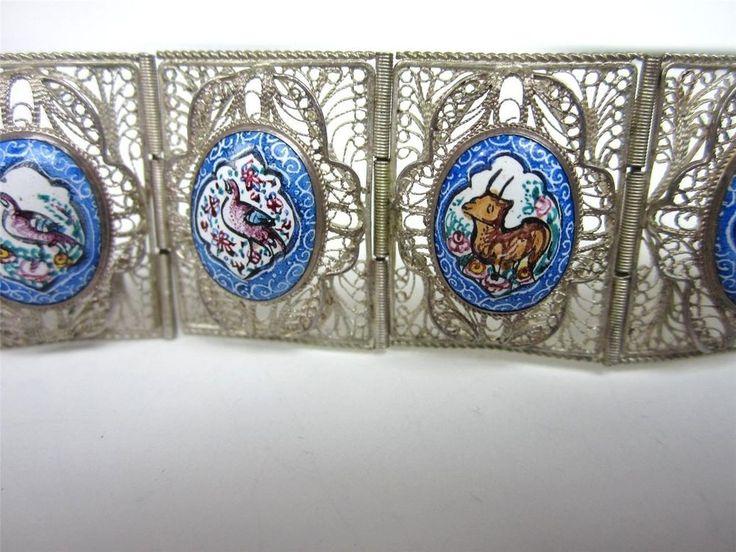 Vintage STERLING SILVER PAINTED Persian story tile bracelet Painted Birds #327 #Unbranded
