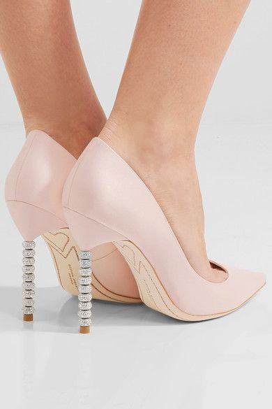 Heel measures approximately 100mm/ 4 inches Pastel-pink satin Slip onSmall to size. See Size & Fit notes.