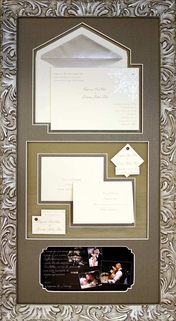 beautiful custom collage design for wedding invitations with textured fabric mats and ornate warm silver frame