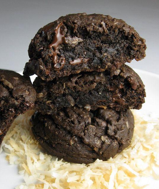 double chocolate-coconut cookies by Vanilla Sugar Blog, via Flickr - dark chocolate my fav!