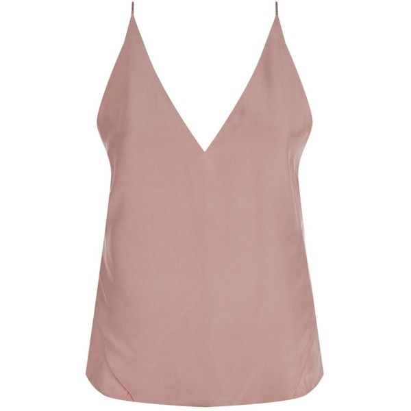 J Brand Lucy Camisole Top ($125) ❤ liked on Polyvore featuring tops, silk cami tops, brown cami, silk camisole top, brown top and v neck cami