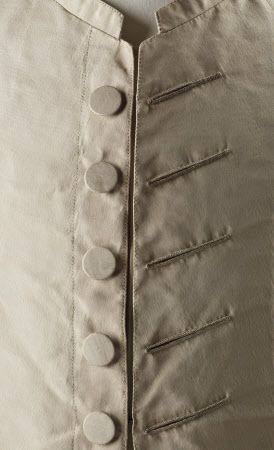 Detail of jacket buttons, 3-piece wedding suit, 18th century. Cream silk. (costume collection at Ham House, Surrey)
