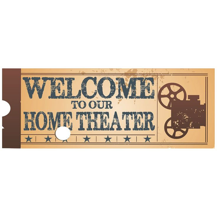 This Welcome To Our Home Theater Ticket Metal Sign is made of heavy-duty steel with a unique home theater inspired theme. Its kitschy style and fun design makes it a memorable gift for that special someone in your life. Great 16 x 6 wall decor for any home theater.