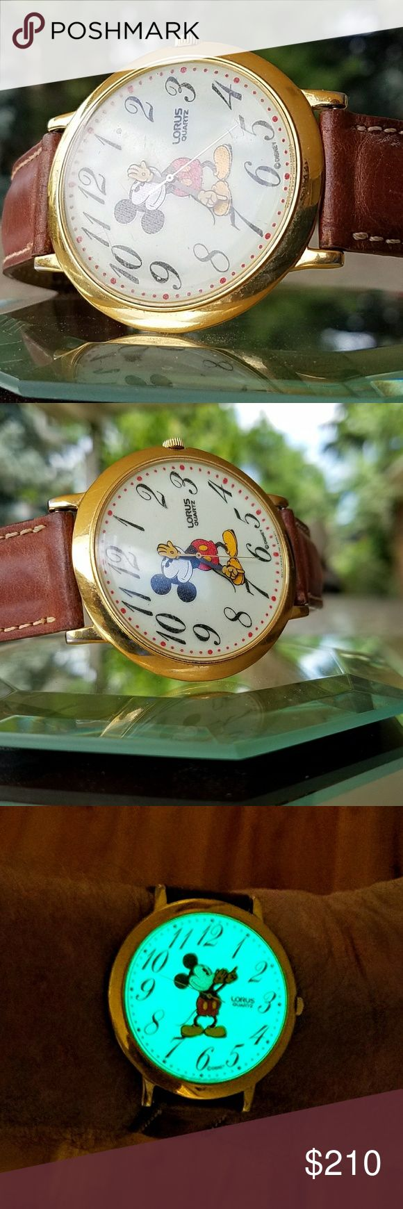 Vintage Mickey Mouse big face watch Very rare vintage Mickey Mouse Lorus watch hands are the hour and minutes very rare especially big face to loris automatic illumination at night very rare watch don't let it get away you want to see one like this for a long time LORUS Accessories Watches