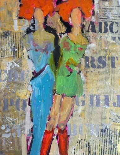 Connie and Nancy Visit Bobland, 11034, SOLD, mixed media figurative collage abstract painting, by Texas Daily Painter Nancy Standlee. Arlington, TX