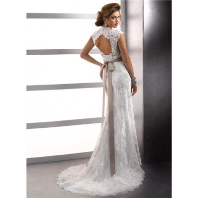 Sexy Sheath Cap Sleeves Vintage Lace Wedding Dresses With Open Back Buttons Belt