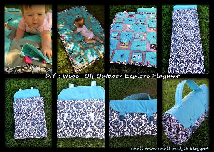 Fun DIY exploration baby play mat.  It folds up ready to go, and IT WIPES OFF