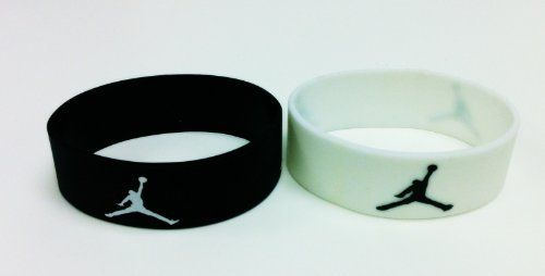 Set of 2 Michael Jordan Wristband Sport Silicone Bracelet Jumpman Logo Black and White . $12.99. Michael Jordan Sport Wristband Bracelets -Jumpman Logo  1black + 1 white