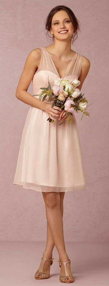 Pretty in pink - short bridesmaid dress by BHLDN | http://www.theperfectpalette.com