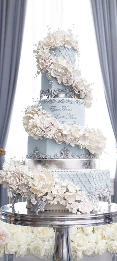 173 best summer cake decorating ideas images on pinterest 3 teir spiraling flowers on a grey wedding cake junglespirit Gallery
