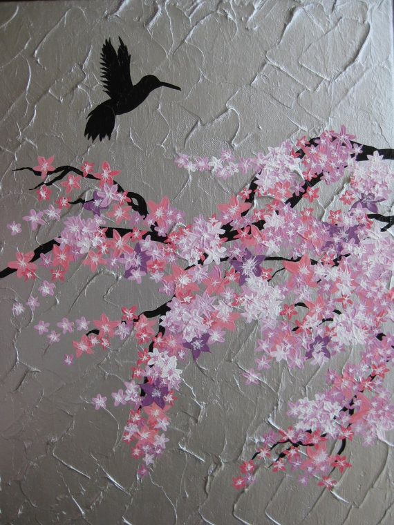 pink cherry blossom tree trees with bird large painting abstract art zen asian gray grey silver pink purple white Japanese Japan