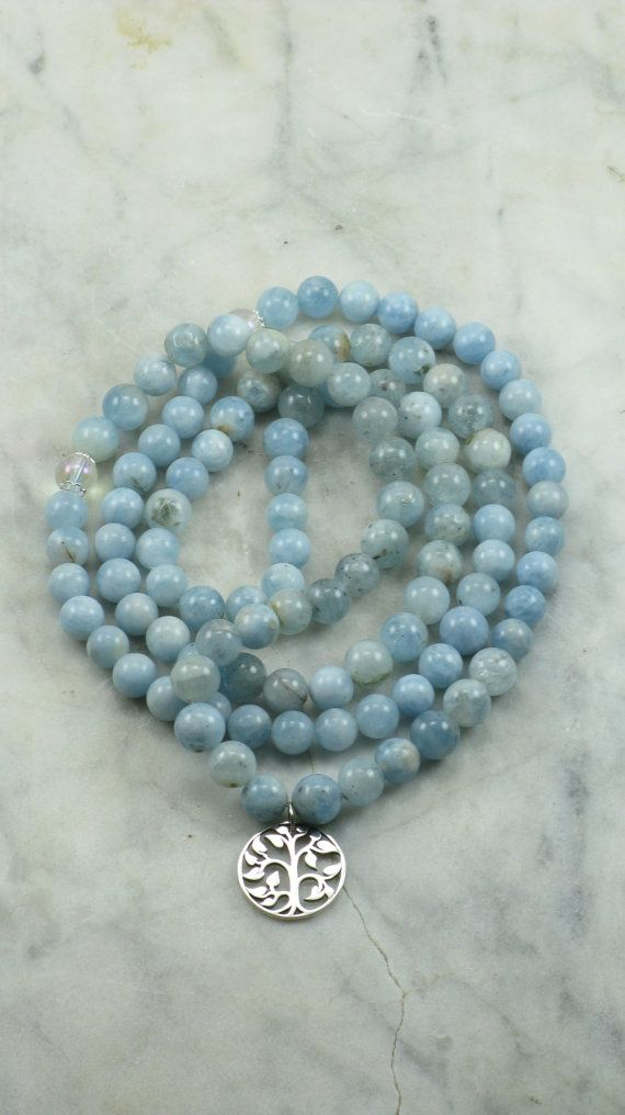 Winter Ayurvedic Mala Bead Necklace- Aquamarine  - Silver Tree of Life Charm -  108 Mala Beads - Buddhist Prayer Beads - Pitta Dosha