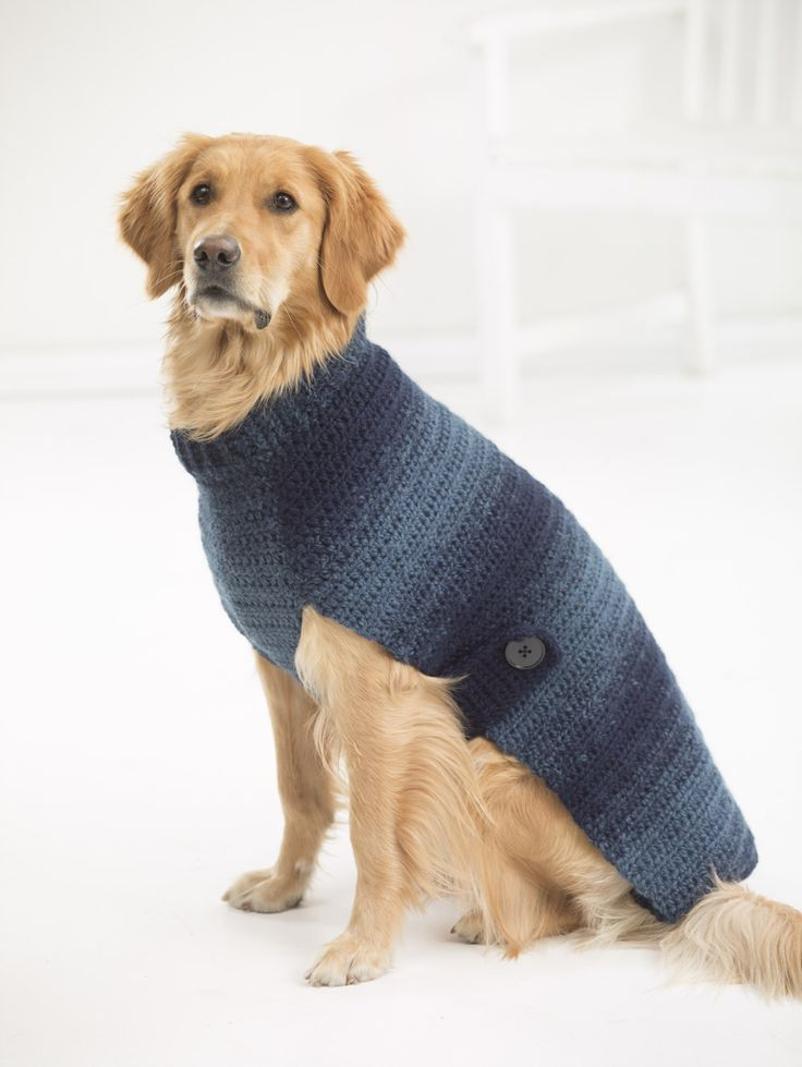 New! Sweaters for BIG dogs! Make our Asta Dog Sweater with 1 - 2 balls of beautiful ombré Scarfie yarn and a size J-10 (6 mm) crochet hook.