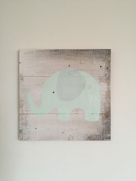 Elephant in Mint Green on a Shabby Distressed by CleverGoose $34