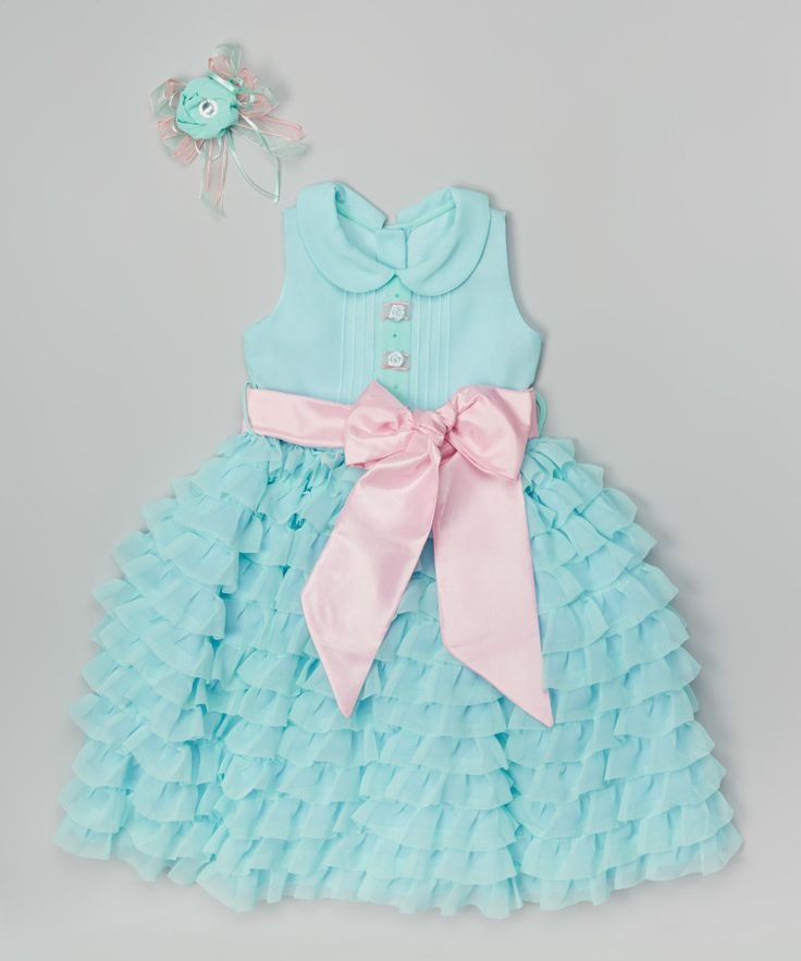 Look at this Mint & Pink Tiered Ruffle Dress - Toddler & Girls on #zulily today!