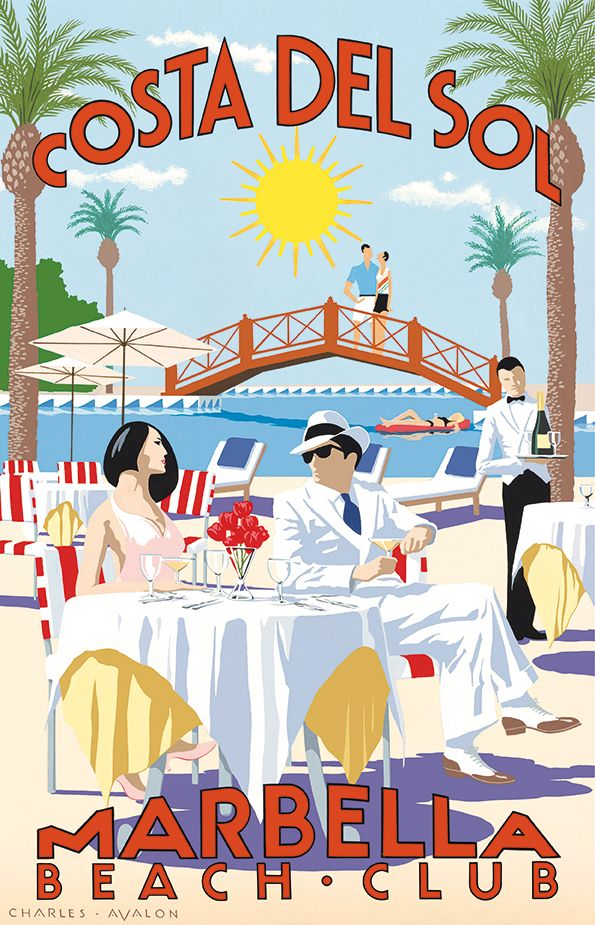 PEL320: 'Marbella Beach Club - Costa Del Sol' by Charles Avalon - Vintage travel posters - Art Deco - Pullman Editions