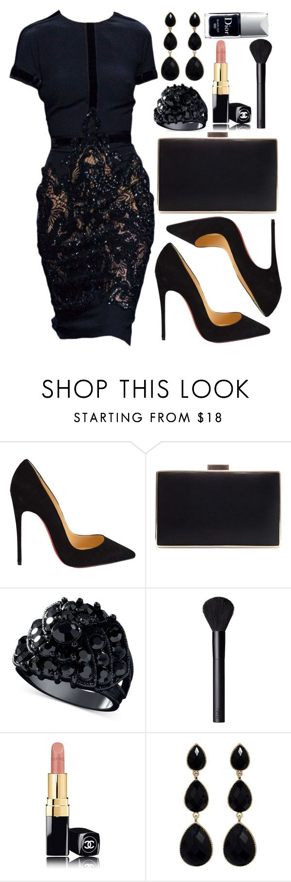 """Untitled #3628"" by natalyasidunova ❤ liked on Polyvore featuring Christian Louboutin, Zara, GUESS, NARS Cosmetics, Chanel, Amrita Singh and Christian Dior"