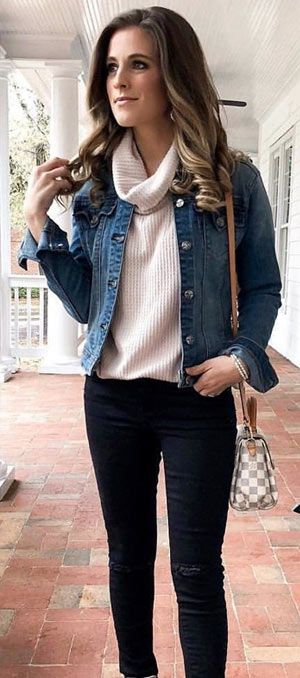 ddc96a102f 40+ cute denim jacket outfit ideas 2018 for ladies  denim  jeans  jackets   fashionoutfits  clothing  Casual  outfits  fashion  ideas  women  style    ...