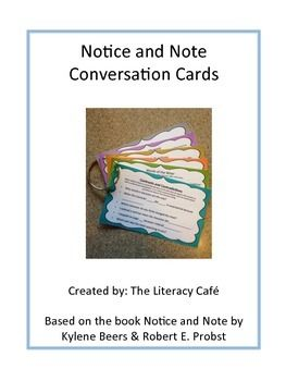 Notice and Note  Conversation Cards.  Perfect for teachers using the Notice and Note resources.