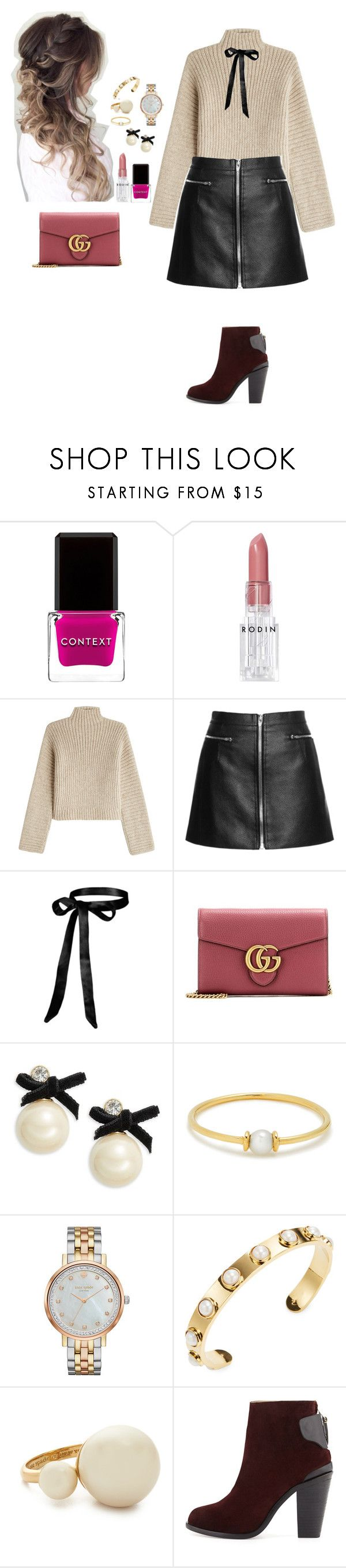 """""""Untitled #1415"""" by lexiaf on Polyvore featuring Context, Rodin, Rosetta Getty, Gucci, Kate Spade, Anissa Kermiche and rag & bone"""