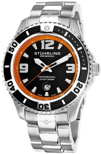 Stuhrling Original Men's 161B3.331157 Nautical Regatta Grand II Swiss Quartz Divers Date Stainless Steel Watch Stuhrling Original. $101.74. Water-resistant to 660 feet (200 M). Black dial with orange chapter ring and date window. Brushed and polished stainless steel link bracelet with deployant clasp. Protective Krysterna crystal with date magnifier. Polished stainless steel round case with unidirectional bezel
