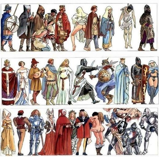 Milo Manara - History of Humanity. Wonderful artwork by Milo Manara, depicting human history. Sex, war to gain sex, more war to gain riches to have more sex.