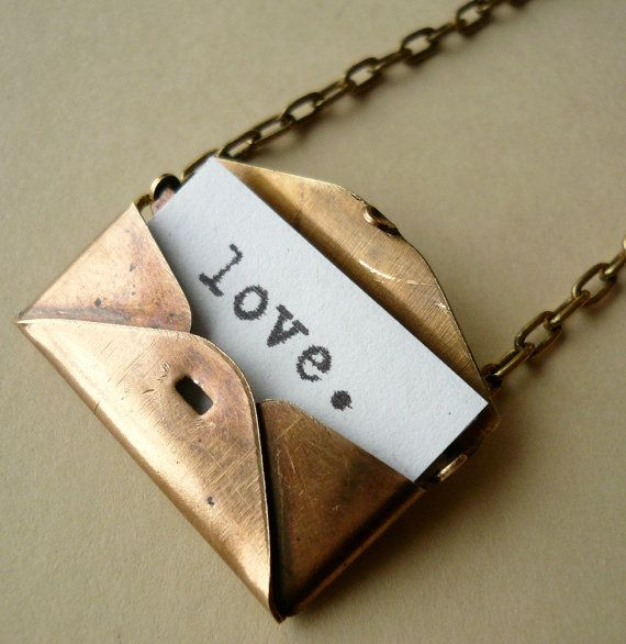 Secret Love Letter Vintage Brass Envelope Locket Necklace
