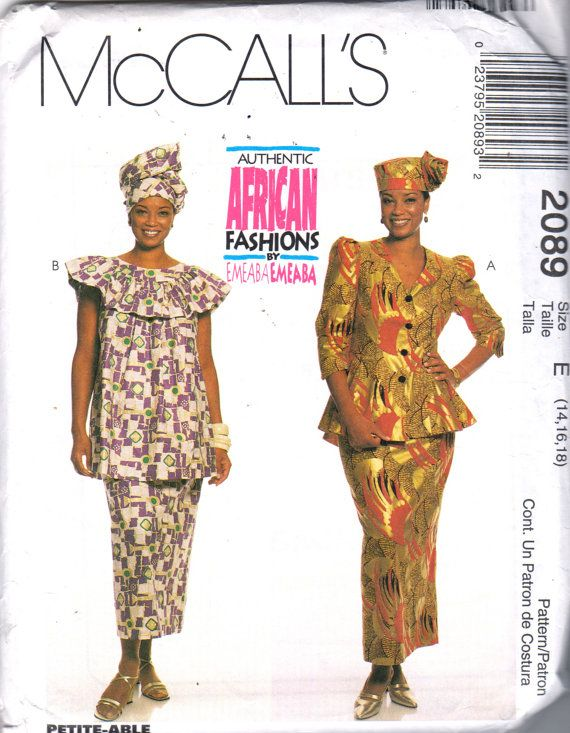 McCalls 2089 Misses Authentic African Skirt Top Jacket Hat ...