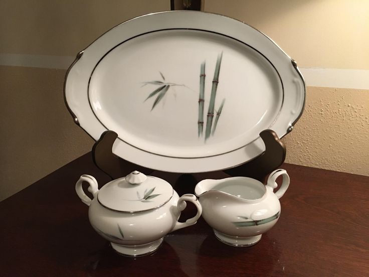 Vintage Set containing bamboo platter, sugar bowl and creamer bowl made in Japan! by fancydollhouse on Etsy https://www.etsy.com/listing/520714925/vintage-set-containing-bamboo-platter