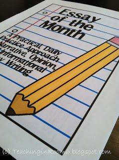 Essay of the Month by Teaching in Room 6 -- a step by step way to get your kids writing multiple paragraph essays.  Uses graphic organizers and small writing tasks daily for one month to produce a 5 paragraph essay that has been through the entire writing process to final draft $