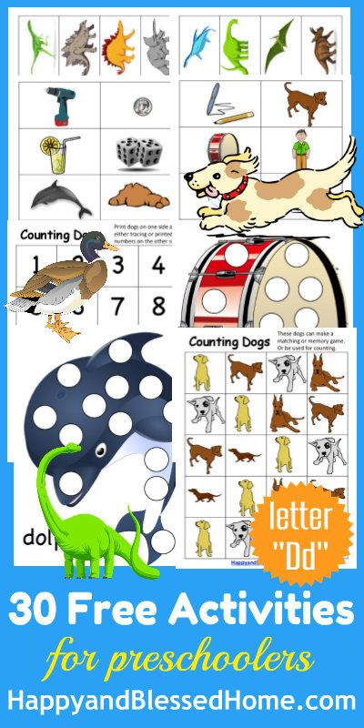 50+ Pages and 30+ FREE Preschool Activities for Learn-to-Read-Preschool-Alphabet-Letter-D-HappyandBlessedHome.com