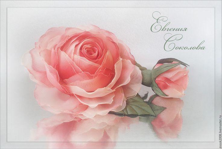 Купить Брошь Роза с бутоном - свадебные аксессуары, для свадьбы, handmade, розы из ткани, подарок девушке